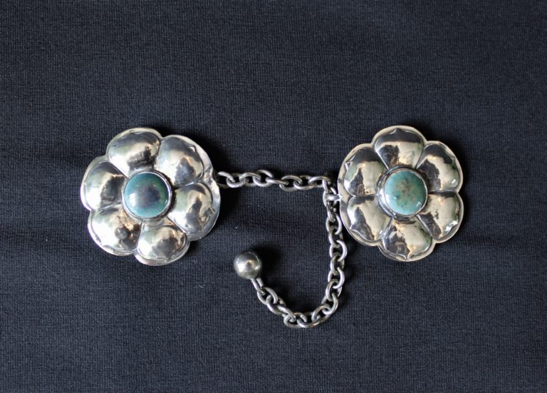 A E Jones silver cloak clasp