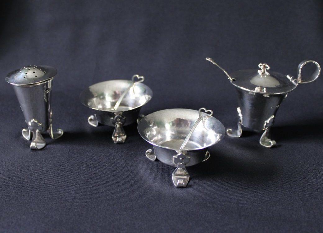 A E Jones silver cruet set