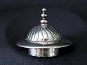 Doulton pot with D.S.C.G. silver lid