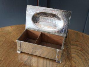A E Jones silver plated cigarette box