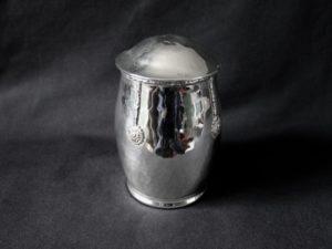 A E Jones silver plated tea caddy