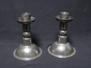 John H Green pewter candlesticks