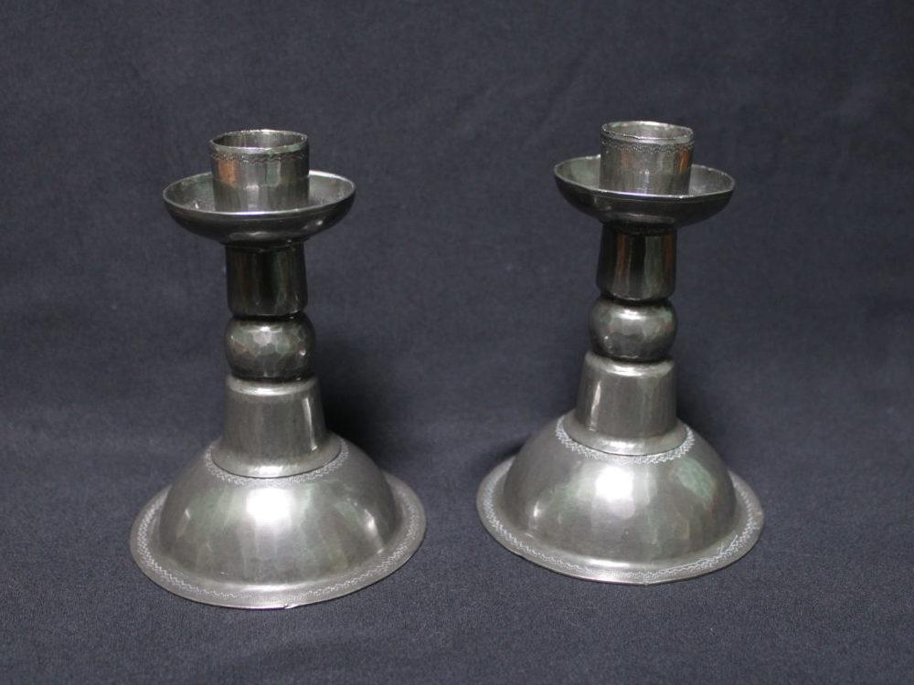 John H Green pewter candlesticks