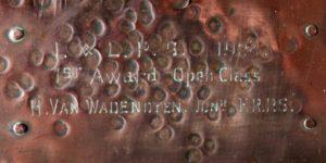 A E Jones copper and abalone box