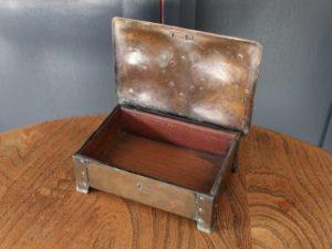 A E Jones copper and enamel box