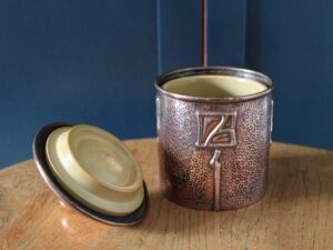 J & F Pool copper tea caddy